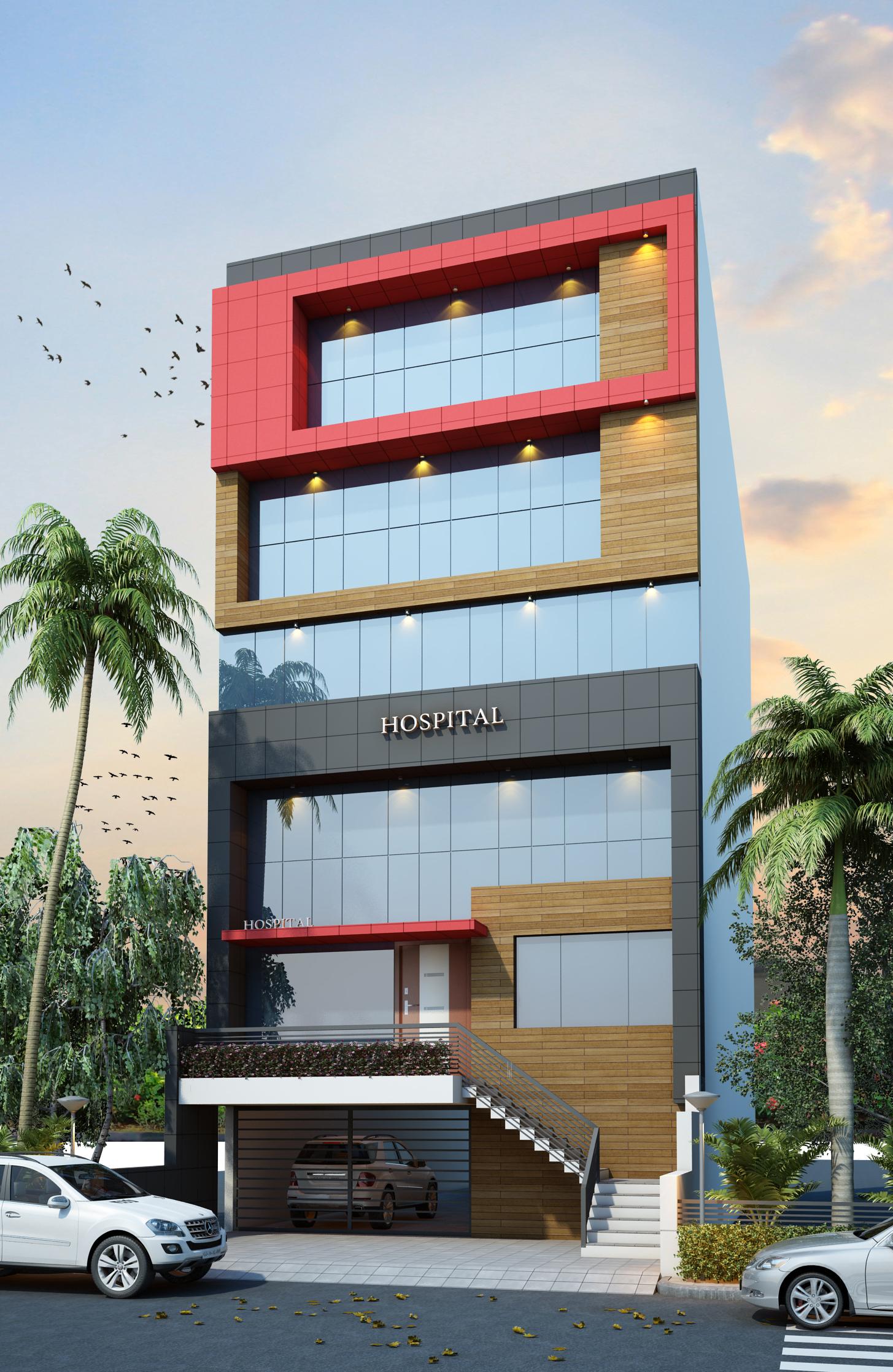 Front Elevation Of Hospital Building : Completed project krishna hospital management